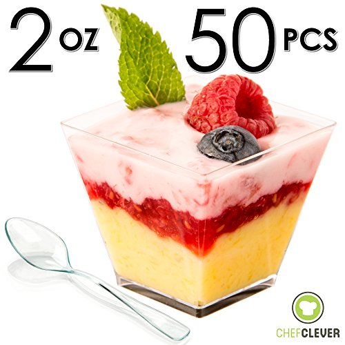 ... Spoons with Recipe e-Book [Clear Plastic 2 oz Square Short 50 Count] Small Catering Supplies Disposable Tasting Glasses Parfait Tumblers Shooters  sc 1 st  Chef Clever & DLux™ Mini Dessert Cups Appetizer Bowls \u0026 Spoons with Recipe e ...