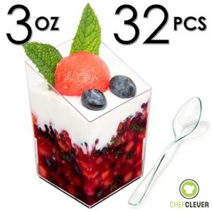 Mini-Dessert-Cups-Appetizer-Bowls-with-Recipe-e-Book-Clear-Plastic-3-oz-with-mini-spoons-Square-Slanted-32-Count-Small-Catering-Supplies-Disposable-Parfait-Tasting-Shooters-Tumblers-Glasses-0
