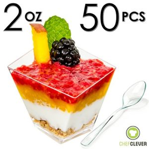Mini-Dessert-Cups-Funky-Appetizer-Bowls-Spoons-with-Recipe-e-Book-Clear-Plastic-2-oz-Asymmetrical-Short-50-Count-Small-Catering-Supplies-Disposable-Parfait-Tasting-Tumbler-Glasses-0